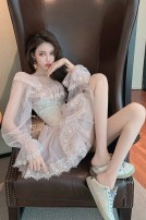 Dress / evening wear Wedding, adulthood, party, company annual meeting, performance, routine, appointment S,M,L,XL Dark pink princess Short skirt middle-waisted Autumn 2020 A-line skirt square neck Netting 18-25 years old Long sleeves Solid color bishop sleeve 30% and below