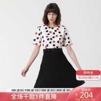Dress Fall 2017 black XXL L XL S M Middle-skirt Fake two pieces Short sleeve commute Crew neck middle-waisted Decor Socket A-line skirt routine 25-29 years old Type X LANDI literature Bow print LQQL667 91% (inclusive) - 95% (inclusive) polyester fiber