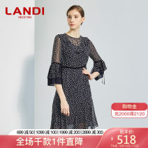 Dress Spring of 2019 Picture color S M L XL XXL Middle-skirt singleton  three quarter sleeve commute Crew neck High waist Dot zipper A-line skirt pagoda sleeve Others 30-34 years old Type A LANDI Ol style Splicing bandage GLSQL841 More than 95% polyester fiber Polyester 100%