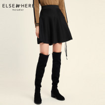 skirt Autumn of 2018 S M L XL XXL black Short skirt commute Natural waist A-line skirt other Type A 30-34 years old E1AGH700503 31% (inclusive) - 50% (inclusive) Koradior elsewhere acrylic fibres Lace up stitching