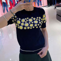 Wool knitwear Summer 2021 2 / s, 3 / m, 4 / L, 5 / XL black Short sleeve singleton  Socket nylon 31% (inclusive) - 50% (inclusive) Regular routine commute Self cultivation Low crew neck routine Plants and flowers Socket lady O'amash banner Printing, splicing