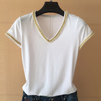 T-shirt 2 = s, 3 = m, 4 = L, 5 = XL Spring 2021 Short sleeve V-neck Self cultivation Regular routine commute modal  31% (inclusive) - 50% (inclusive) Ol style youth Pinge Dixin Nail bead