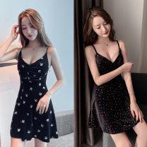 Dress Autumn of 2019 Swan, color dot S,M,L Short skirt singleton  Sleeveless commute V-neck High waist A-line skirt camisole Type A Korean version