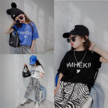 T-shirt Black, white, blue Other / other 110cm, 120cm, 130cm, 140cm, 150cm, 160cm, the size is enough, according to the height, please don't be greedy neutral summer Short sleeve Crew neck Korean version There are models in the real shooting nothing cotton printing Other 100% Class B