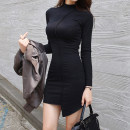 Dress Spring 2020 Black, gray S,M,L Short skirt singleton  Long sleeves commute Half high collar middle-waisted Solid color Socket Pencil skirt routine Others 25-29 years old Korean version Splicing 81% (inclusive) - 90% (inclusive) other cotton