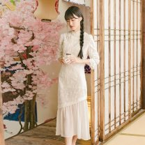 Dress Spring 2021 white XS,S,M,L,XL longuette singleton  three quarter sleeve commute stand collar middle-waisted Solid color Socket Ruffle Skirt Lotus leaf sleeve Others Type A literature Embroidery, buckle HX9557 More than 95% other cotton