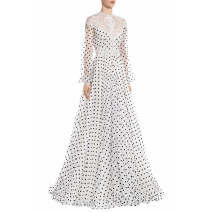 Dress Spring 2021 white S,M,L longuette singleton  Long sleeves street Crew neck High waist Dot zipper Big swing bishop sleeve Others 25-29 years old Type X Qu wanjiamei Stitching, lace, print 81% (inclusive) - 90% (inclusive) Lace polyester fiber Europe and America