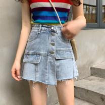 skirt Summer 2020 S (recommended 90-100 kg), m (recommended 100-110 kg), l (recommended 110-120 kg), XL (recommended 120-135 kg), 2XL (recommended 135-150 kg), 3XL (recommended 150-165 kg), 4XL (recommended 165-175 kg), 5XL (recommended 172-200 kg) blue Short skirt commute High waist A-line skirt