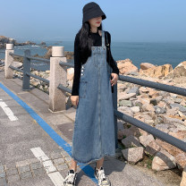 Dress Spring 2021 blue S (recommended 90-100 kg), m (recommended 100-110 kg), l (recommended 110-120 kg), XL (recommended 120-135 kg), 2XL (recommended 135-150 kg), 3XL (recommended 150-165 kg), 4XL (recommended 165-175 kg), 5XL (recommended 172-200 kg) Mid length dress singleton  Sleeveless commute