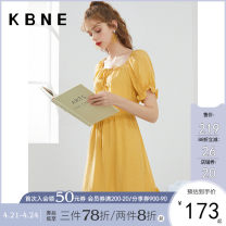 Dress Summer 2020 yellow XS S M L Mid length dress singleton  Short sleeve commute other High waist Solid color Socket A-line skirt puff sleeve Others 25-29 years old Type X Kbne / Cabernet Korean version Frenulum yDSK0063LT176 More than 95% Chiffon other Lyocell 98% flax 2%