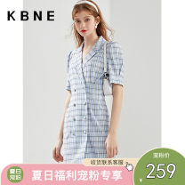 Dress Summer 2021 Blue check XS S M L Short skirt singleton  Short sleeve Sweet tailored collar middle-waisted double-breasted One pace skirt puff sleeve 25-29 years old Type H Kbne / Cabernet Button DSK1044LT317 More than 95% polyester fiber Polyester 97% polyurethane elastic fiber (spandex) 3%