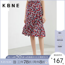 skirt Summer 2021 XS S M L Mid length dress Sweet Natural waist Solid color Type H 25-29 years old More than 95% Kbne / Cabernet other Other 100% Pure e-commerce (online only) college