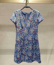 Dress Summer 2021 blue 2 / s, 3 / m, 4 / L, 5 / XL, 6 / XXL Mid length dress singleton  Short sleeve commute V-neck Decor zipper Princess Dress routine Pinge Dixin lady More than 95% Chiffon other