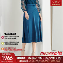 skirt Spring 2021 S ml XL seven days no reason Medium blue Middle-skirt Versatile High waist Umbrella skirt Solid color Type A 30-34 years old RW00328M5 30% and below La Koradior polyester fiber Splicing Triacetate 86% polyester 14%