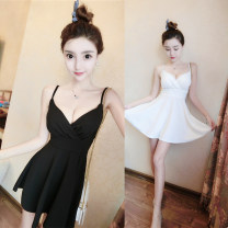 Dress Autumn of 2018 White, black, red S,M,L Short skirt singleton  Sleeveless commute V-neck middle-waisted Solid color zipper Big swing camisole 18-24 years old Type A Other / other Korean version 6877#
