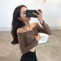 T-shirt Black, card Average size Spring 2020 Long sleeves One word collar Self cultivation have cash less than that is registered in the accounts routine commute cotton 96% and above 18-24 years old Korean version Solid color Other / other
