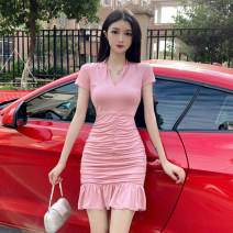 Dress Summer 2020 Black, pink S,M,L Short skirt singleton  Short sleeve commute V-neck middle-waisted Socket Ruffle Skirt routine Others 18-24 years old Type X Korean version 81% (inclusive) - 90% (inclusive) brocade cotton