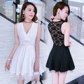 Dress Summer 2020 Black, white S,M,L,XL Short skirt singleton  Sleeveless commute V-neck High waist Solid color Socket Big swing 18-24 years old Type A Korean version Open back, Gouhua, hollow out, lace