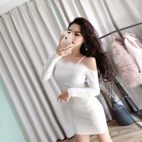 Dress Autumn of 2018 White, black S,M,L Short skirt singleton  Long sleeves commute One word collar middle-waisted Solid color zipper One pace skirt routine camisole 18-24 years old Type X Korean version Open back, stitching