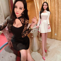 Dress Summer 2020 White, black M, L Short skirt singleton  Long sleeves commute Polo collar High waist Solid color zipper Pleated skirt other Others 18-24 years old Type A Korean version 31% (inclusive) - 50% (inclusive) Lace cotton