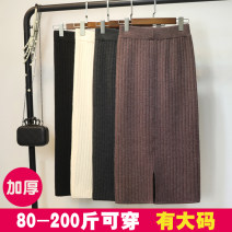 skirt Winter of 2018 M,L,XL,2XL Black, brown, grey Mid length dress commute High waist skirt Solid color Type H 18-24 years old BSQ-003 51% (inclusive) - 70% (inclusive) knitting other thread Korean version 401g / m ^ 2 (inclusive) - 500g / m ^ 2 (inclusive)