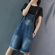 Casual pants blue S 100 kg, m 100-115 kg, l 115-130 kg, XL 130-145 kg, 2XL 145-160 kg Summer 2021 shorts rompers High waist commute routine 18-24 years old 51% (inclusive) - 70% (inclusive) other Korean version straps