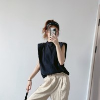 shirt Light green, black XS,S,M,L Autumn 2020 other 91% (inclusive) - 95% (inclusive) Sleeveless street Regular Socket Solid color Straight cylinder CC99113399 Europe and America