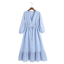Dress Summer 2021 Picture color XS,S,M,L longuette singleton  Long sleeves street V-neck Solid color 91% (inclusive) - 95% (inclusive) Europe and America