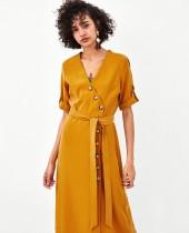Dress Summer of 2018 Orange S M L Mid length dress singleton  street V-neck Tie button XN92586099 Europe and America