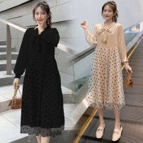 Dress Other / other Black, apricot M,L,XL,XXL Korean version Long sleeves Medium length spring V-neck velvet