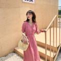 Dress Other / other Skin pink M,L,XL,XXL other Short sleeve Medium length summer V-neck Solid color
