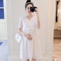 Dress Other / other white M,L,XL,XXL Korean version Short sleeve Medium length summer V-neck Solid color nylon