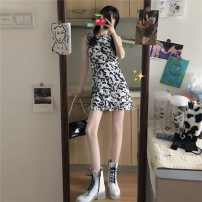 Dress Summer 2021 Cardigan (single piece), suspender skirt (single piece) Average size, s, M Short skirt Two piece set Sleeveless commute square neck High waist Animal pattern Socket A-line skirt camisole 18-24 years old Type A Ruifenyue Korean version aLRH9 More than 95% other