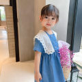 Dress blue female THE KLDS MODEL 90cm,100cm,110cm,120cm,130cm Cotton 100% summer Korean version Short sleeve Solid color cotton Cake skirt Pjym2190 denim dress 18 months, 2 years old, 3 years old, 5 years old, 6 years old, 4 years old