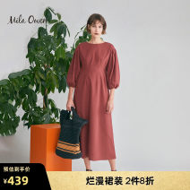 Dress Spring 2020 Dark blue brown pink 01 Mid length dress singleton  Short sleeve street Crew neck High waist Solid color Socket Pleated skirt other Others 25-29 years old mila owen 09WFO201010 51% (inclusive) - 70% (inclusive) hemp Flax 57% cotton 43%