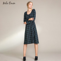Dress Winter of 2018 Black check grey S M Mid length dress 25-29 years old mila owen 09WCO185116 30% and below nylon Viscose fiber (viscose fiber) 75% polyamide fiber (nylon fiber) 20% polyurethane elastic fiber (spandex fiber) 5% Same model in shopping mall (sold online and offline)