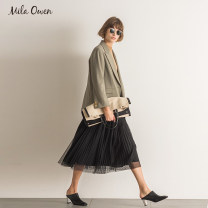 skirt Spring of 2019 01 BEIGE BLACK PURPLE Mid length dress street Natural waist Pleated skirt 25-29 years old More than 95% mila owen polyester fiber Polyester 100% Same model in shopping mall (sold online and offline)