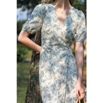 Dress Summer 2020 Blue flower S,M,L Mid length dress singleton  Short sleeve commute V-neck High waist Broken flowers other A-line skirt routine Others Type X Bowknot, lace, bandage, one piece other