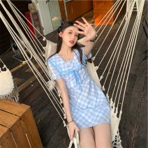 Women's large Summer 2021 Blue check M [within 100 kg recommended], l [100-115 Jin recommended], XL [115-135 Jin recommended], 2XL [135-150 Jin recommended], 3XL [150-170 Jin recommended], 4XL [170-190 Jin recommended] Dress singleton  commute Socket Short sleeve lattice Korean version Admiral