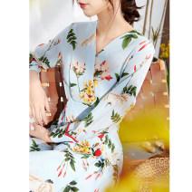 Dress Spring 2021 Blue background decor S,M,L,XL Mid length dress singleton  Long sleeves commute V-neck High waist Decor A-line skirt routine Type A Ol style More than 95% Crepe de Chine silk