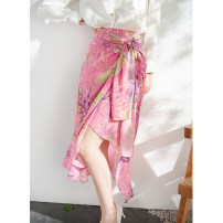 skirt Spring 2021 S,M,L,XL Pink chrysanthemum print Mid length dress commute High waist Decor Type A More than 95% SHANSINCE silk Ol style