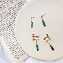 Ear Studs Alloy / silver / gold RMB 1.00-9.99 Other / other Dark green stone earrings brand new Japan and South Korea female goods in stock Fresh out of the oven Not inlaid other