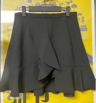 skirt Summer 2021 black Short skirt commute Natural waist Irregular Solid color 25-29 years old More than 95% Silk and satin polyester fiber Asymmetry