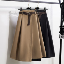 Women's large Spring 2021, autumn 2021 Black, khaki skirt singleton  commute easy thick Solid color Korean version polyester Three dimensional cutting 25-29 years old belt 96% and above longuette