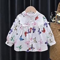 shirt White, purple Tagkita / she and others female 80, 90, 100, 110, 120, 130 spring and autumn Long sleeves Korean version Broken flowers other stand collar Other 100% FHW952