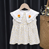 Dress Yellow, orange female Tagkita / she and others 80, 90, 100, 110, 120, 130 Other 100% spring and autumn Korean version Skirt / vest Broken flowers cotton Pleats FHW320 Class B 12 months, 18 months, 2 years old, 3 years old, 4 years old, 5 years old, 6 years old, 7 years old, 8 years old