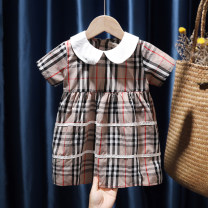 Dress khaki female Tagkita / she and others 80, 90, 100, 110, 120, 130 Other 100% summer Korean version Short sleeve lattice cotton Pleats 12 months, 9 months, 18 months, 2 years old, 3 years old, 4 years old, 5 years old, 6 years old