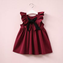 Dress female Other / other Cotton 100% summer Europe and America Skirt / vest Solid color cotton Pleats 18 months, 2 years old, 3 years old, 4 years old, 5 years old, 6 years old