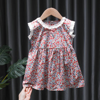 Dress Red, green, dark rainbow, light rainbow female Tagkita / she and others 80, 90, 100, 110, 120, 130 Cotton 95% other 5% summer fresh Short sleeve Broken flowers cotton Pleats FHW647 Chinese Mainland