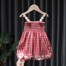 Dress Red, black, blue female Tagkita / she and others 80, 90, 100, 110, 120, 130 Cotton 95% other 5% summer Korean version Skirt / vest lattice cotton Pleats FHW333 12 months, 9 months, 18 months, 2 years old, 3 years old, 4 years old, 5 years old, 6 years old, 7 years old, 8 years old